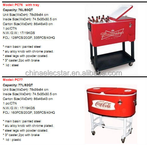Patio Deck Ice Chest Cart Cooler/Cooler Cart/Rolling Cooler/Cooler Box With