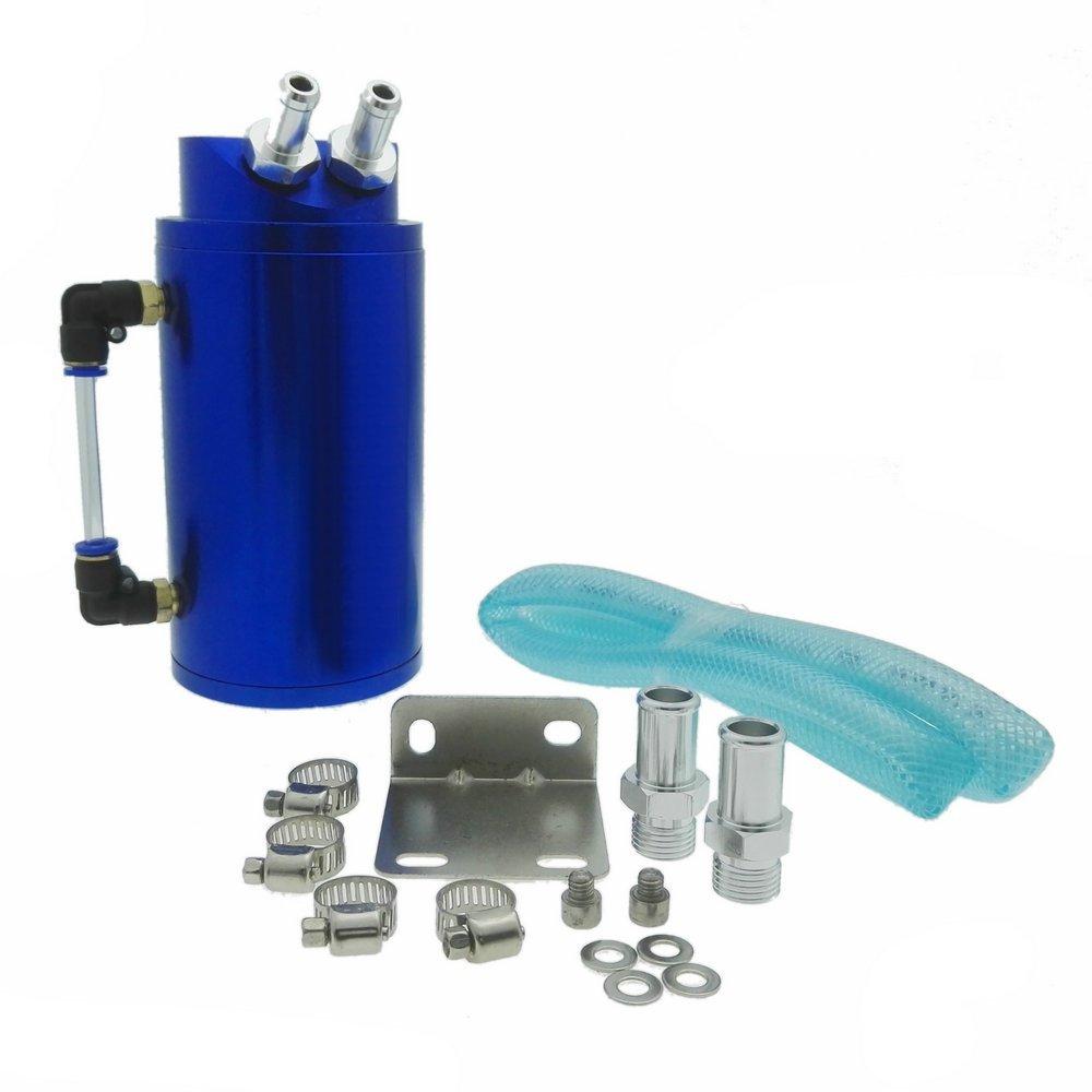 Heinmo Universal Cylindrical JDM Aluminum Engine Oil Catch Can Reservoir Tank-Blue