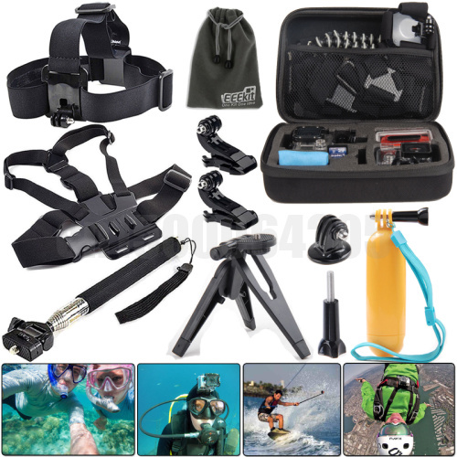 10 In 1 GoPro Hero 4 HD 3+ Gopro Bag Case + Head Chest  Strap J-Hook Tripod