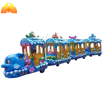 best selling one locomotive and 3 carriages electric trackless trains for children