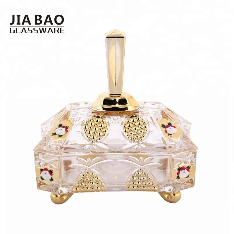 Middle East & India style golden glass candy jar with lid