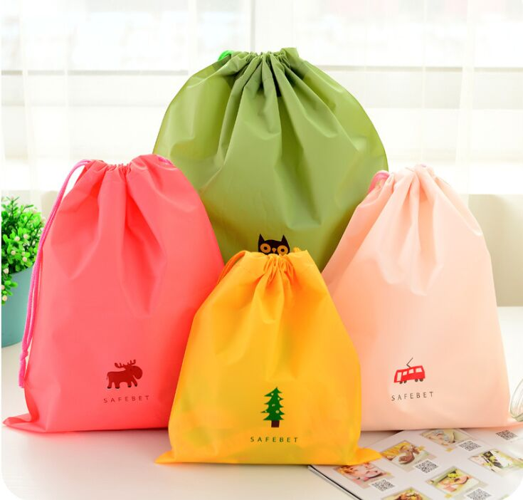 Customized Design Drawstring Vegetable Market Shopping Eco PE Waterproof Storage Bag with Rope Travel Bag