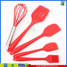 Cute Heat Resistant Kitchen Tools 5 Pieces Silicone Kitchen Utensil Set