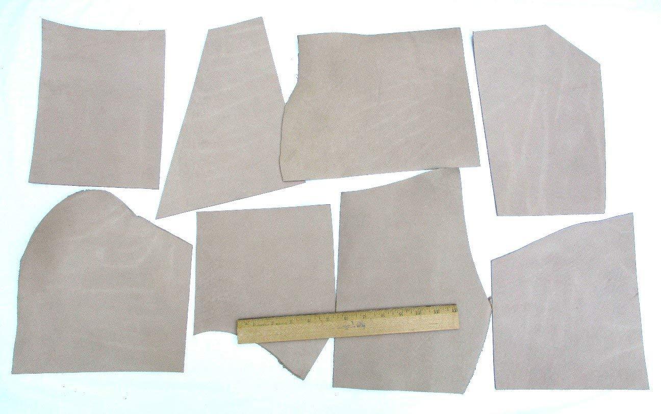 Scrap Desert Sand Boot Leather Mixed Medium Pieces 12 Square Feet