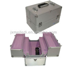 MLD-CC28 Fashion silver aluminum folding jewelry cosmetic case pink interior velvet lined