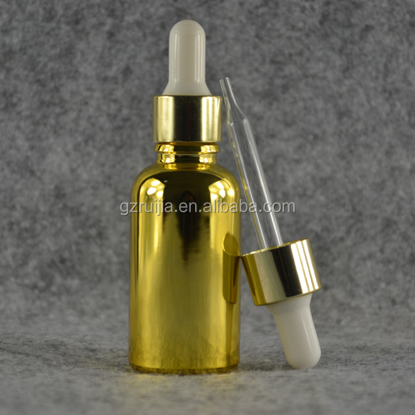 30ml gold metallic glass dropper bottles wholesale for essential eliquid oil