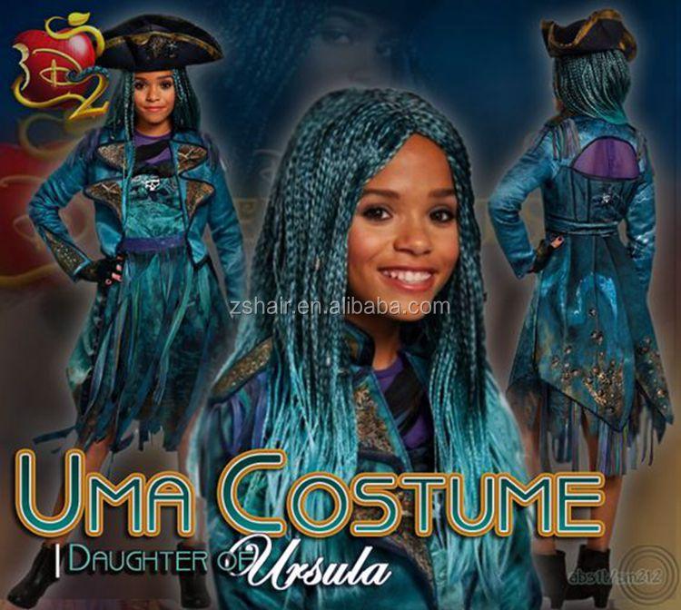 Descendants 2 Uma Braided Wig Long Straight Fashion Blue Halloween Adult  Cosplay Wig - Buy Descendants Wig,Halloween Wig,Cosplay Wig Product on