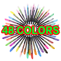1.0mm 48pcs Metallic Glitter Pastel Fluorescent Multicolor Drwaing Neon Gel Pen