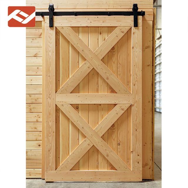 Two Panel X Brace Unfinished Knotty Alder Interior Solid Wood Barn Door Slab