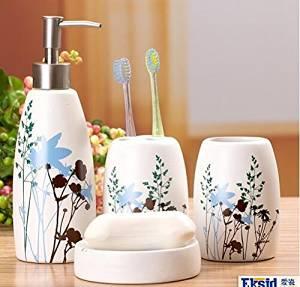 QUEEN'S Conch Shell Ceramics Sanitary Ware Four Sets Household Sanitary Ware Sanitary Ware Sets Sanitary Supplies Leaves 2426-C,Bath Ensemble,Bath Accessory Set