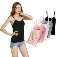 Wholesale Modal Womens Adjustable Strap Padded Bra Seamless Bras Tank Top Camisole