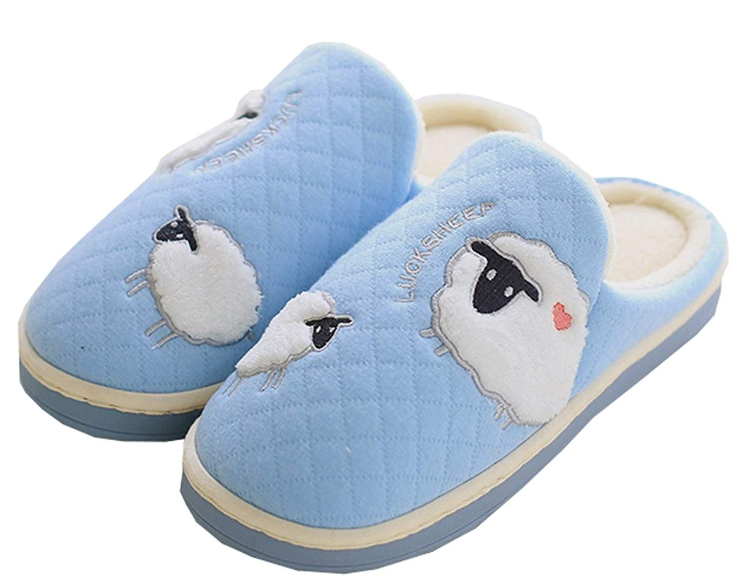 fe2b4c8f47e Get Quotations · Blubi Womens Sheep Cotton Warm Thick Sole Slippers  Skid-Proof Indoor Slippers