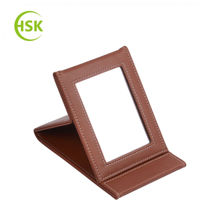 5%-10% discount off wholesale leather cosmetic mirror, foldable make-up mirror for office, home use