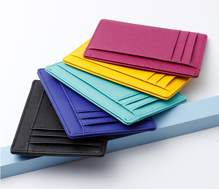 Saffiano Leather Slim Credit Card Wallet