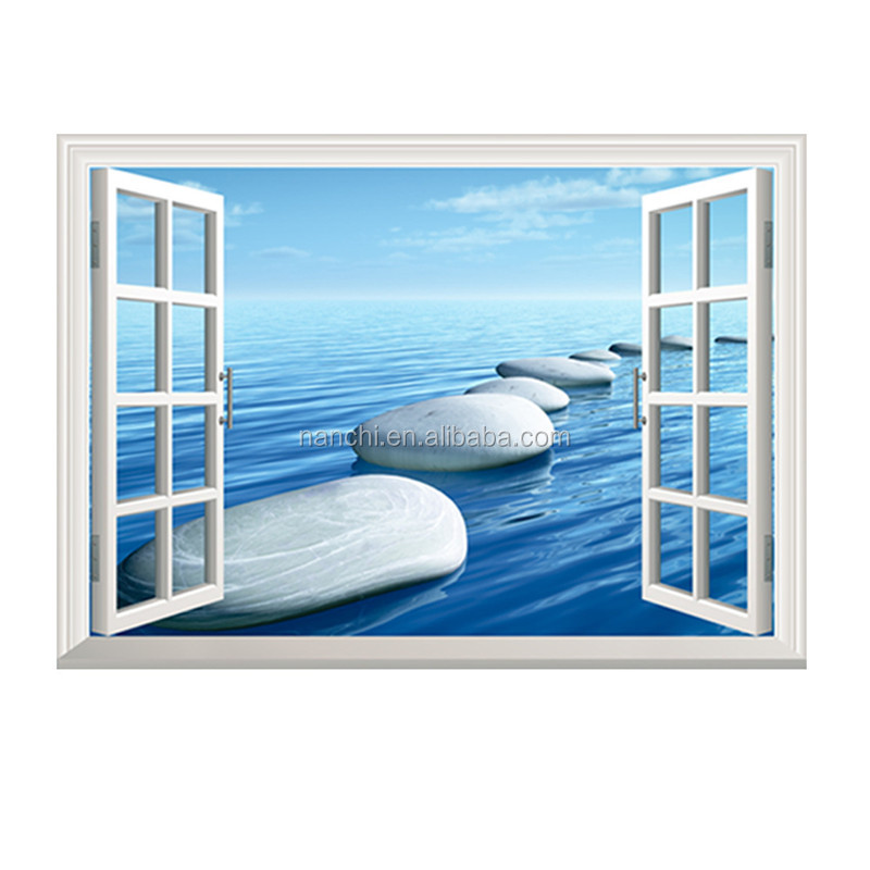 3D windows Seascape stone-paved road wall decals for kids children room home decorative removable waterproof cheap wall stickers