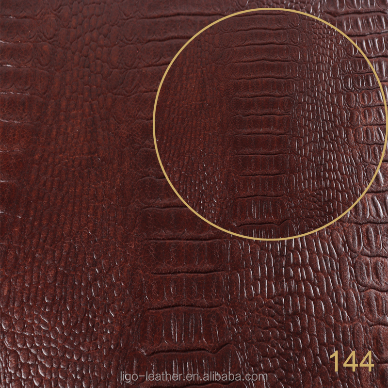 Custom embossed fabric crocodile print exotic leather for upholstery