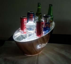 Patented plastic led lighting wine champagne ice bucket with holder