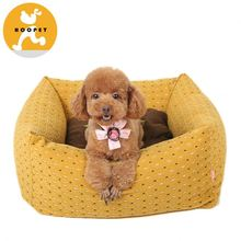 Earth yellow suede fabric dog dry bed pet products wholesale