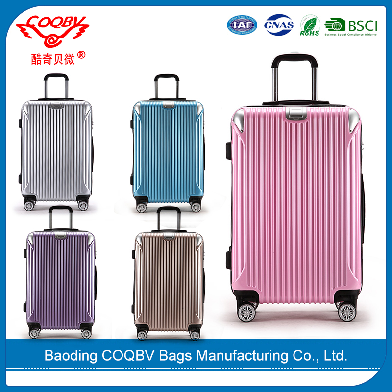 COQBV 2017 wholesale popular colorful trolley luggage abs pc set