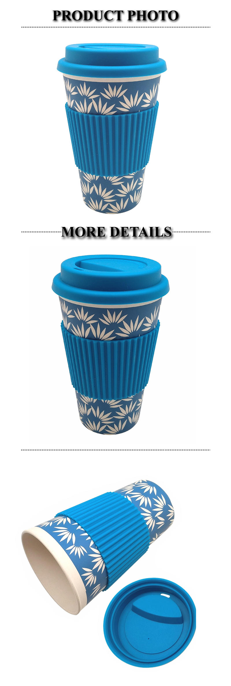 Eco-friendly 100% Biodegradable Coffee Mug with Silicone Sleeve and Lid