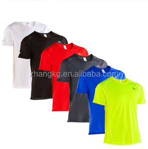 Wholesale men dry fit bird eyes run t shirts,polyester plain round neck running t shirt