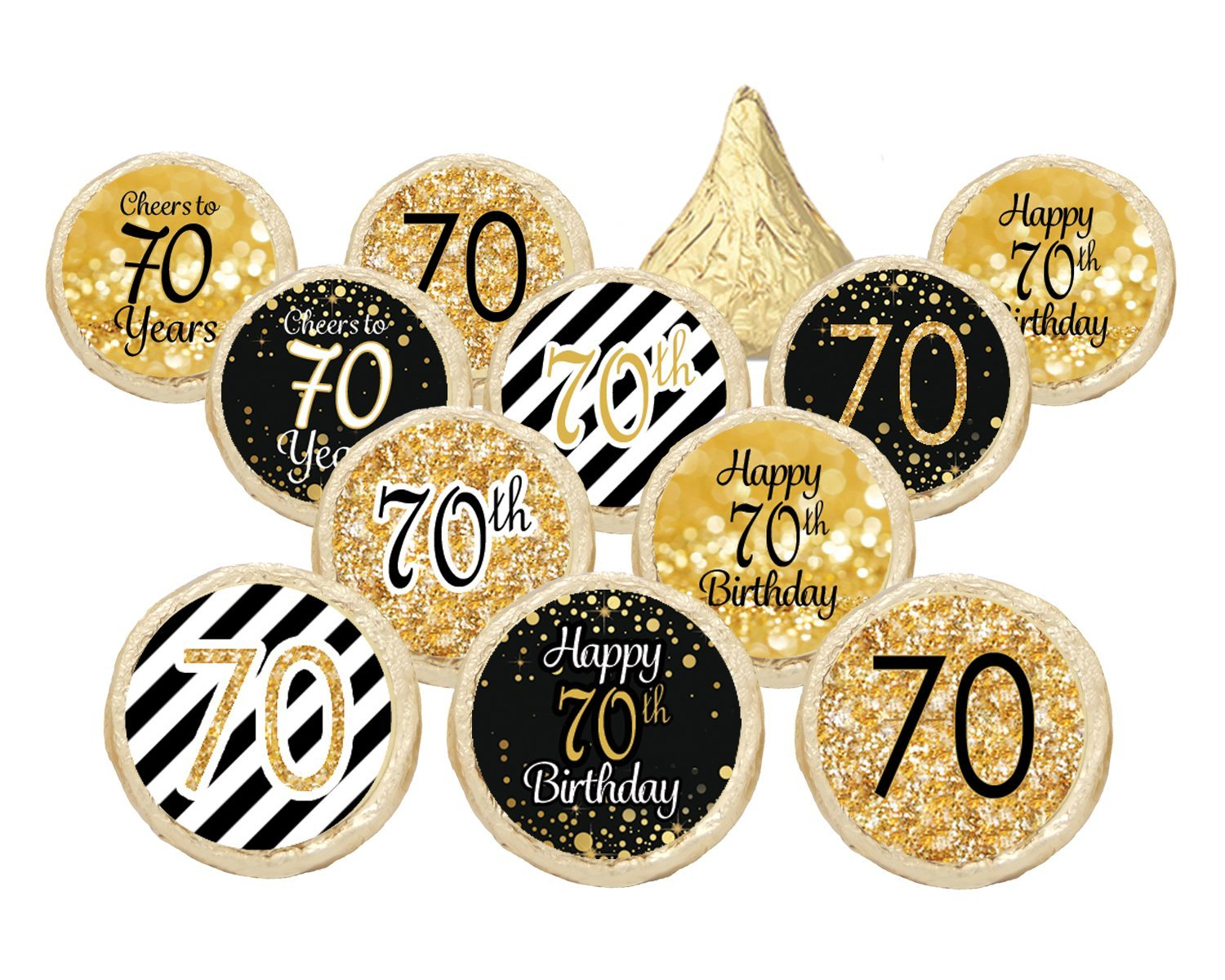 216 Stickers DISTINCTIVS Black and Gold Happy Birthday Party Favor Labels