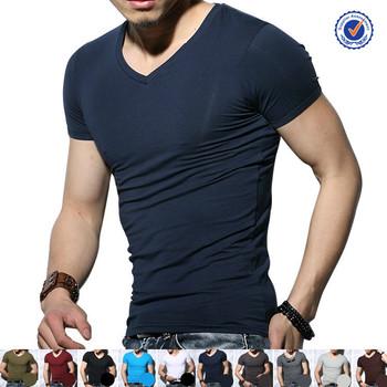 f08da5d7 Wholesale slim fit t shirt men in China plain v neck slim fit t shirt for
