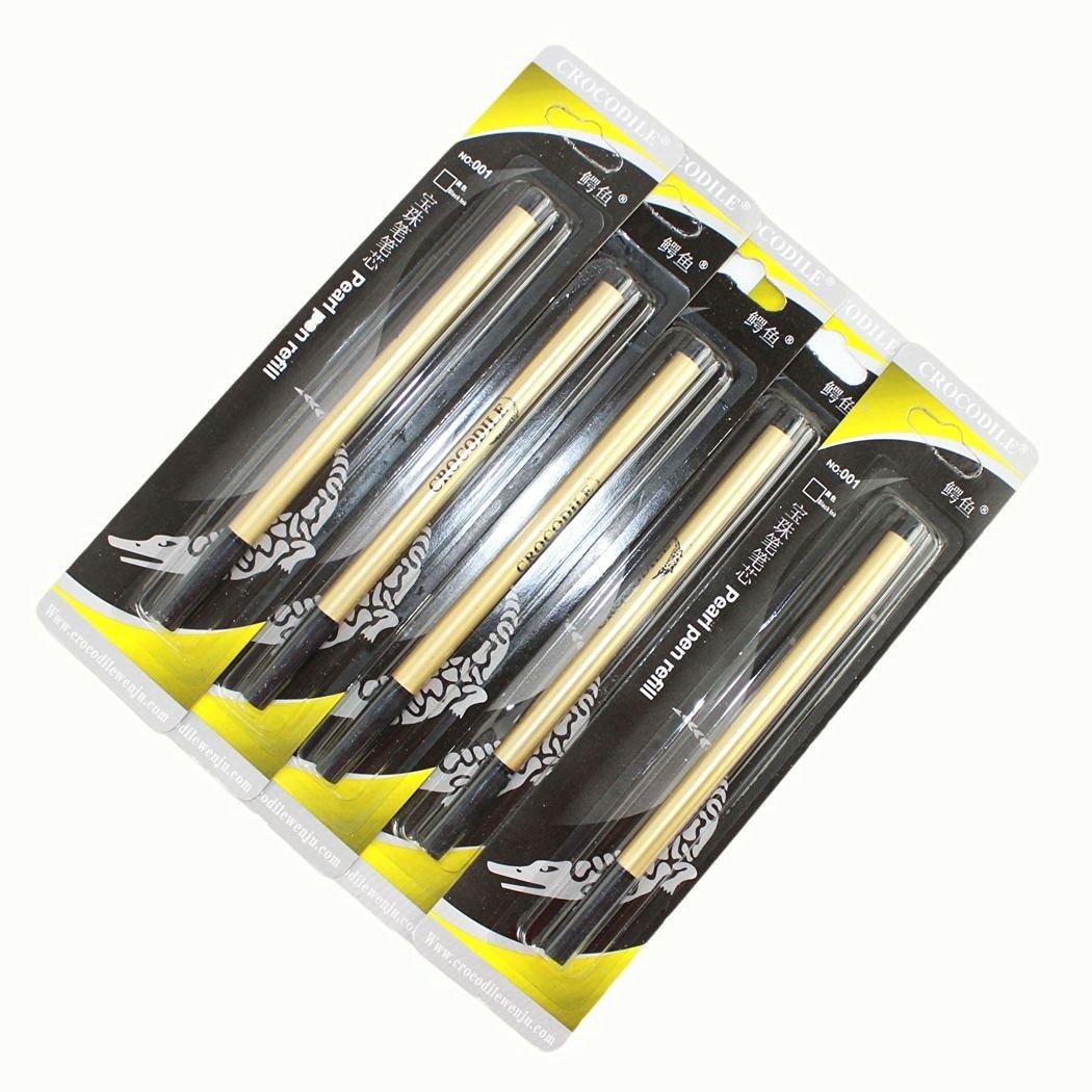 5 pcs Crocodile pearl pen refills / 0.5mm ball / black ink