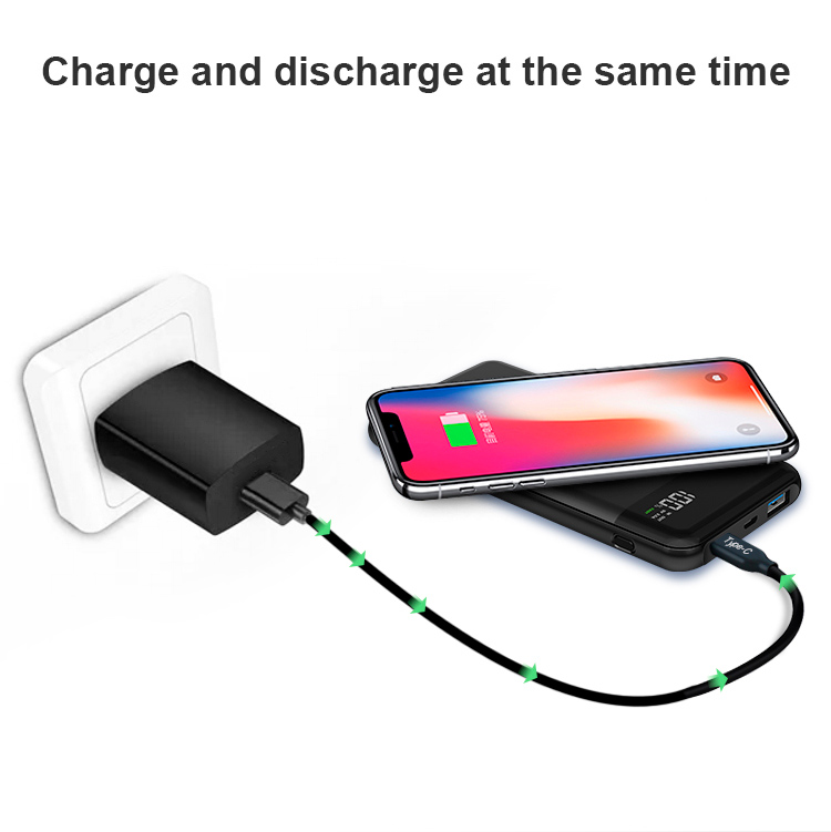 promotion real capacity LED custom logo fast charge USB C Qi wireless charger powerbank 10000mAh