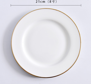single gold rimmed white bone china ceramic plates for wedding and restaurant