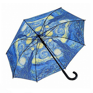 Famous Van Gogh Oil Painting Walking Stick Automatic Umbrella