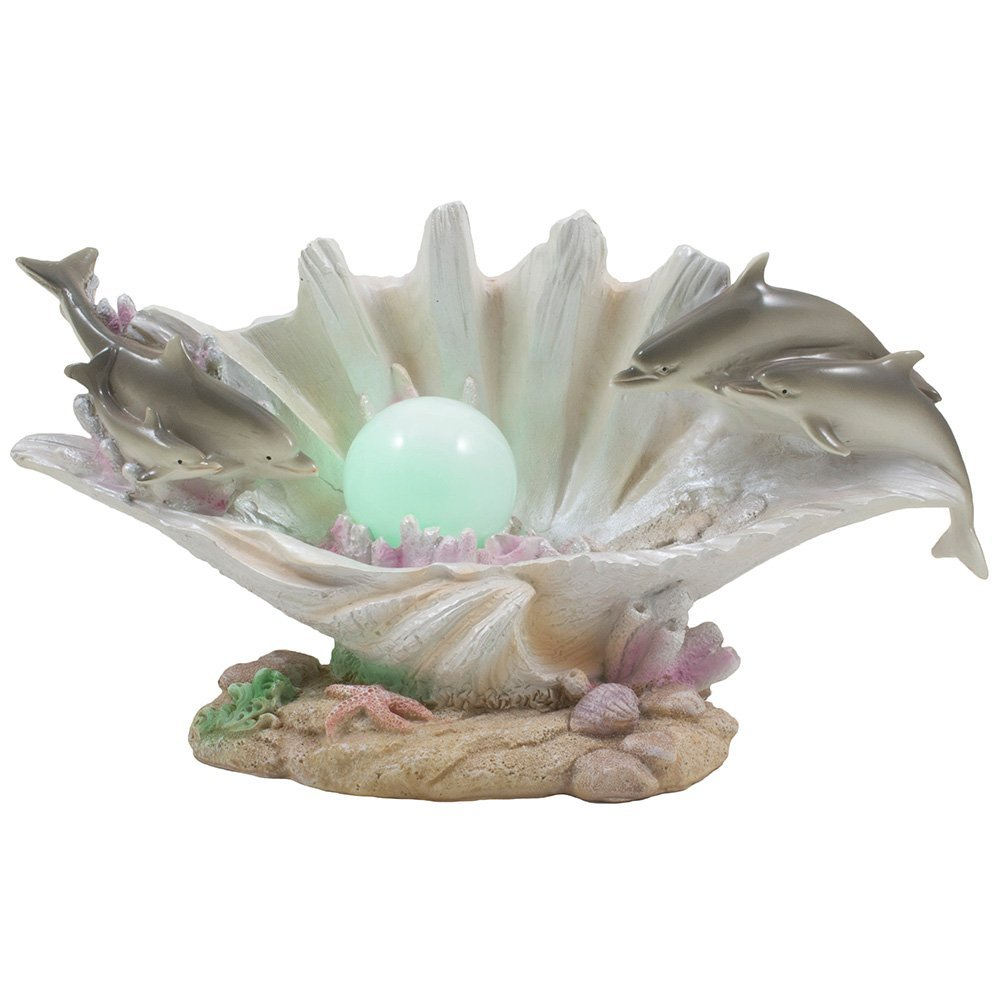Dolphins Swimming Over Clam Shell with LED Light Color Changing Pearl Statue or Night Light for Decorative Artistic Sculptures in Tropical & Beach Decor As Gifts for Dolphin Lovers