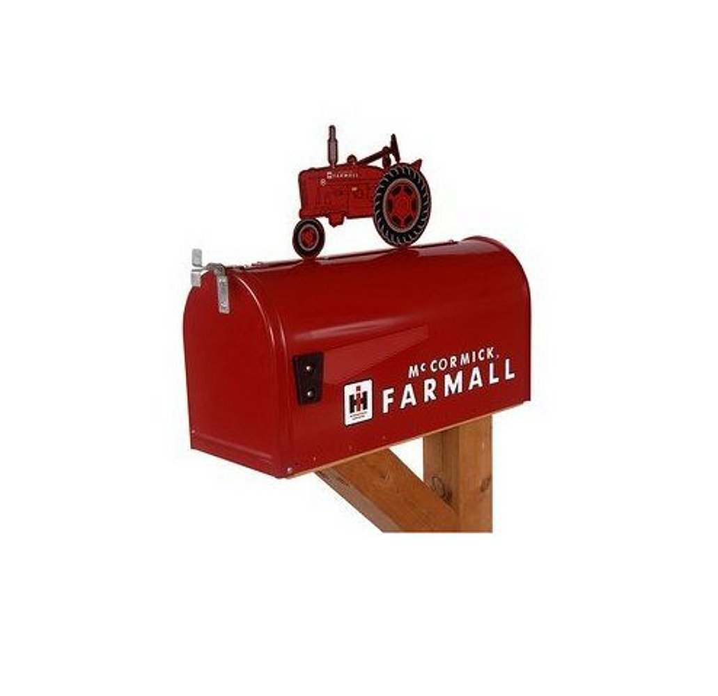 Get Quotations · McCormick Farmall Rural Style Mailbox w/ 'M' Tractor Topper