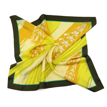 Unique Dragon Boat Race Square Scarves Yellow Festival Characteristic Shawl Printed Silk Scarf