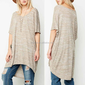 Pretty Woman Clothing Marled Knit V Neck Hi Low Hem Boxy Tunic Create Your Own Brand Latest Design Shirts