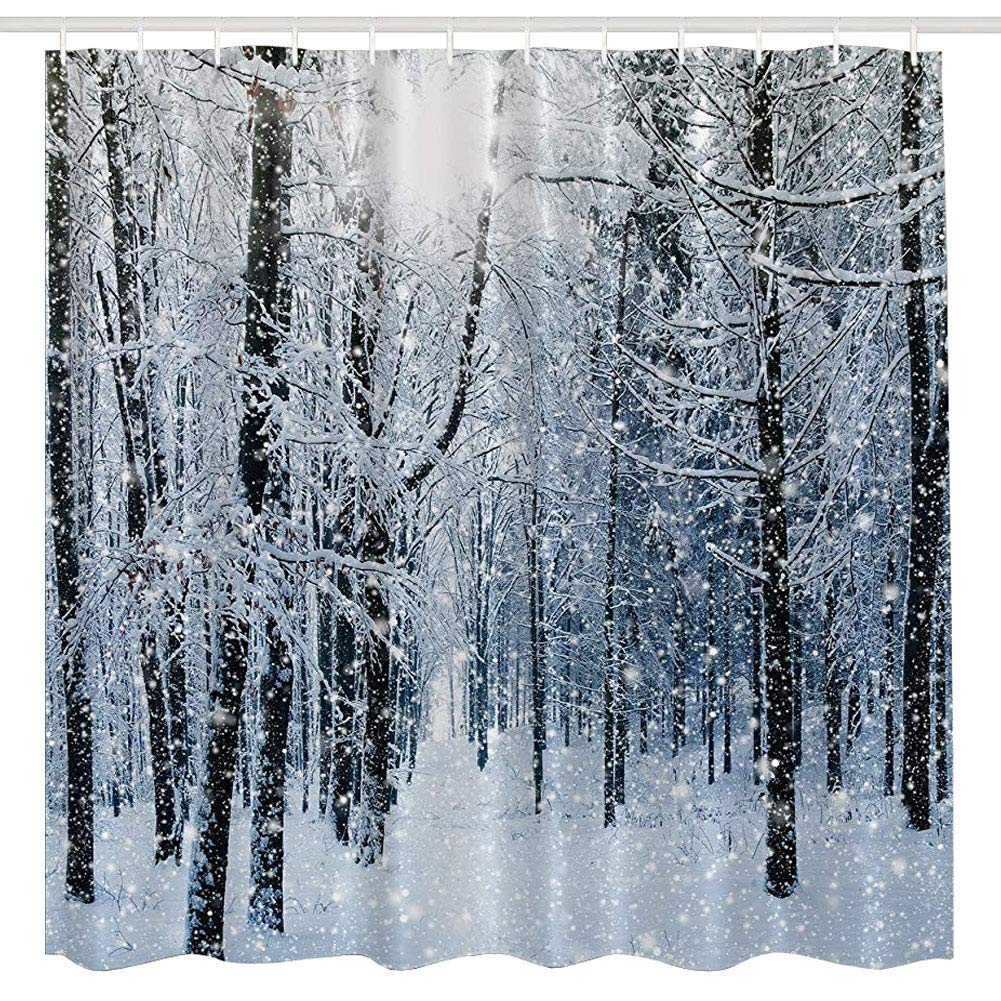 BROSHAN Blue White Tree Forest Shower CurtainWinter Nature Snow On Branch Country