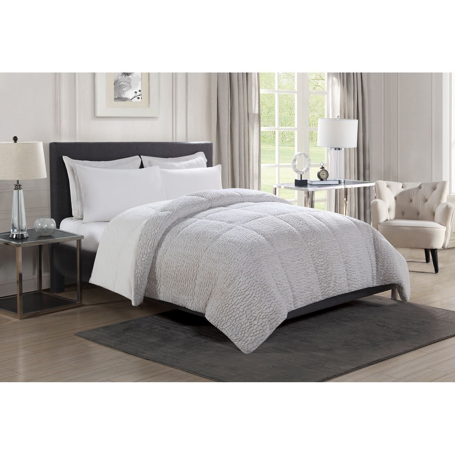 red alternative down comforter plaid fur and solid buffalo gray set black faux
