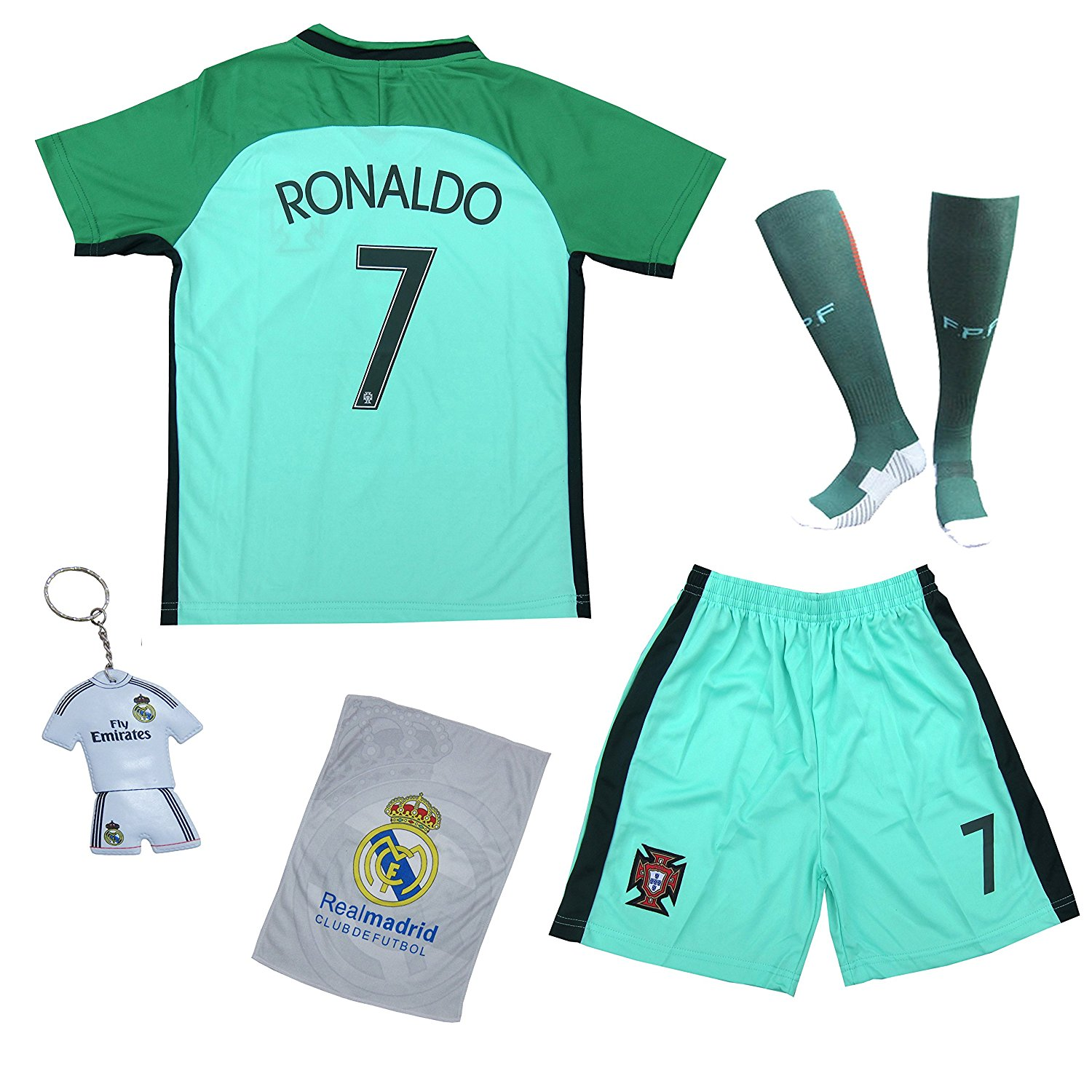 Get Quotations · 2018 Portugal Cristiano Ronaldo  7 Away Green Kids Soccer  Football Jersey Gift Set Youth Sizes 547a2f1f0