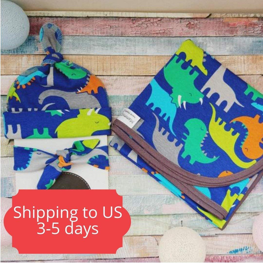 Gift set for newborn, swaddle blanket, newborn blanket, baby shower gift, baby boy gift, newborn hat, newborn swaddle, baby dino