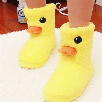 Cute Big Yellow duck warm Plush slippers indoor Boots Women's Tall kids gift