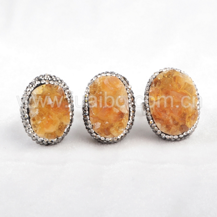 sliver sterling jewelry 925 turkish ring citrine quartz stone ring pave zircon