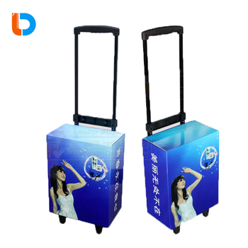 Exhibition Promotional Cardboard Paper Trolley Cases with Wheels