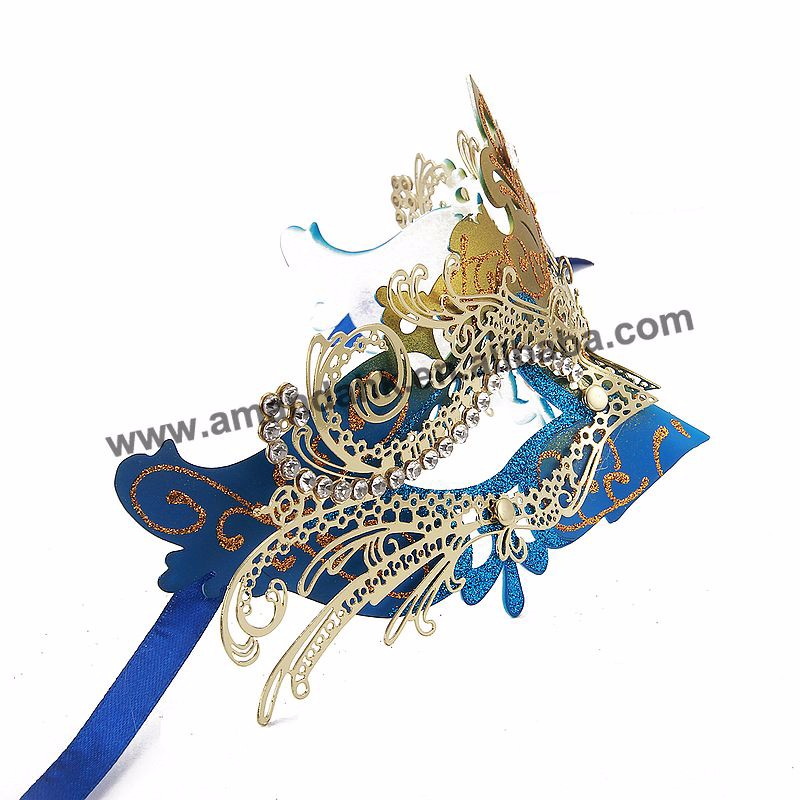 MJP-021BG Blue Gold Party Mask Noble Metal Mask Charming Princess Masquerade Mask