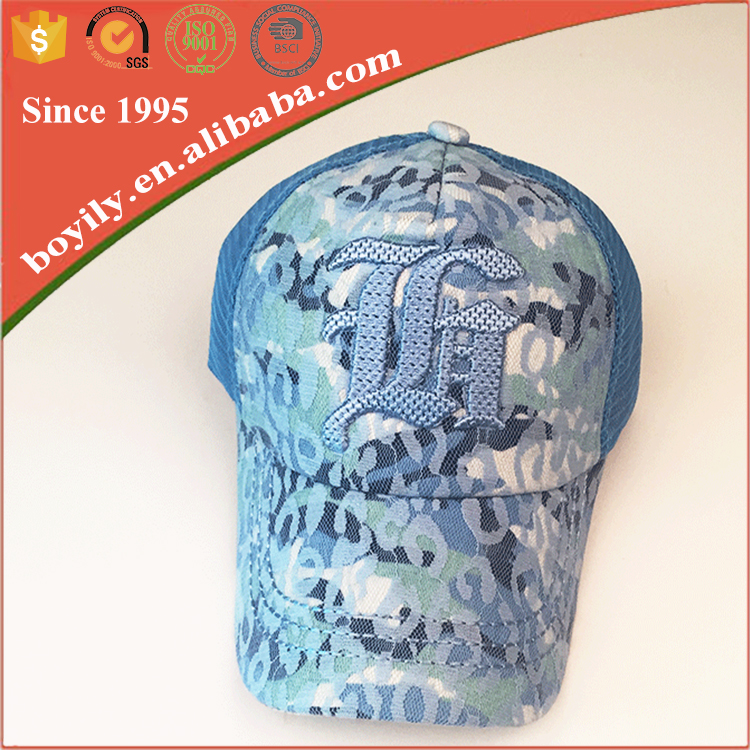 Colorful Printed Design Customize 6 panel Mesh Trucker Baseball Cap and hats
