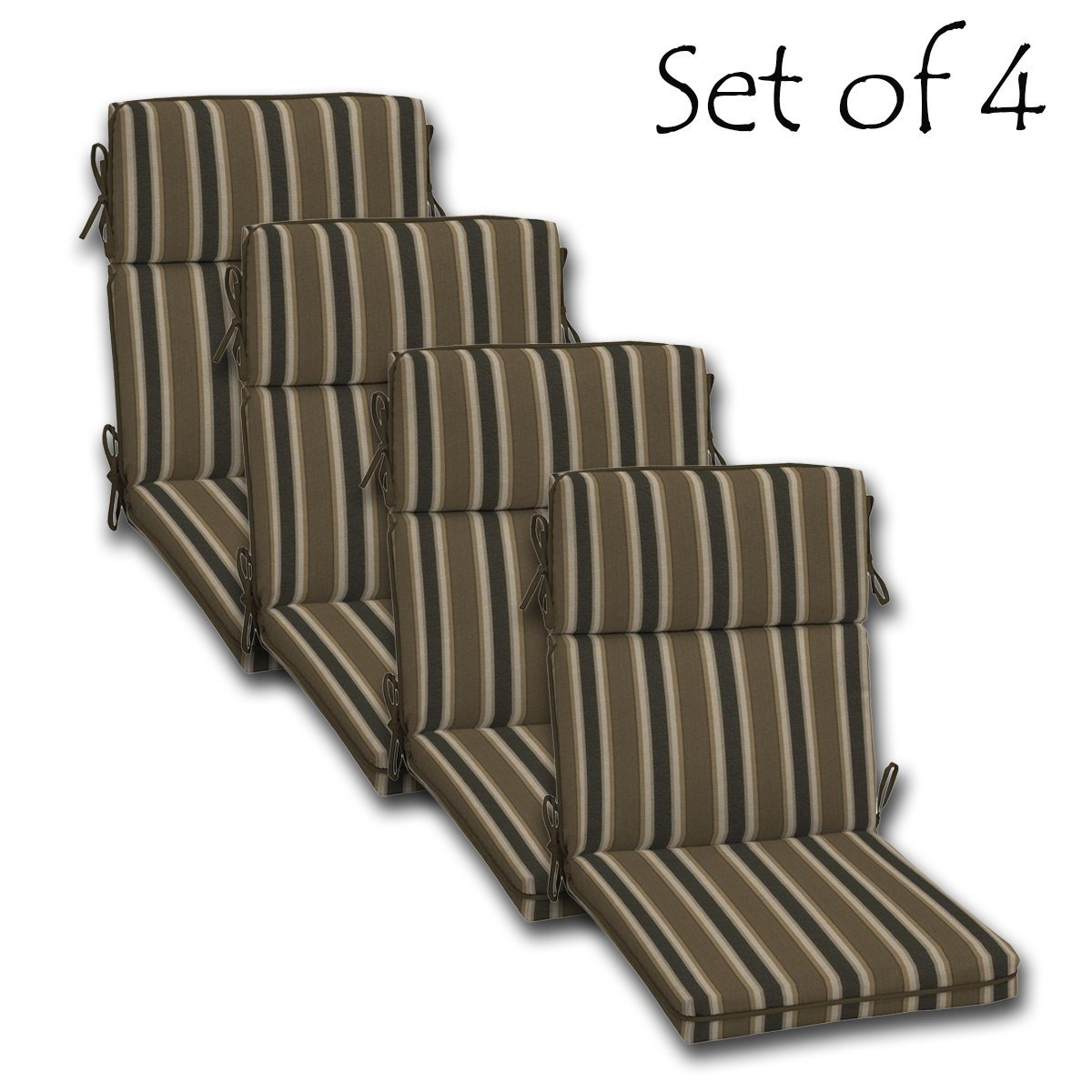 """SET OF 4 Outdoor High Back Chair Cushion, Single Welt 44"""" x 21"""" x 4.5"""" (Seat: 20""""D x 21""""W x 4.5""""T; Back: 24""""D x 21""""W x 4.5"""" T) Polyester fabric Rea Stripe by Comfort Classics Inc."""