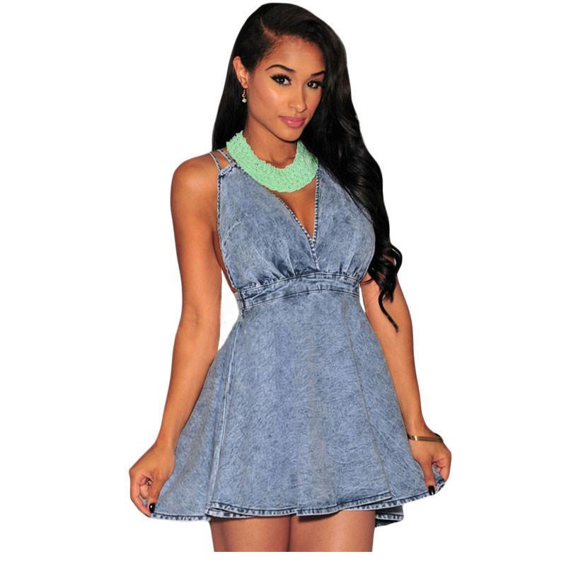 14e03e772aa Get Quotations · Summer Style 2015 Sexy Ladies Club Skater Dresses Denim  CrissCross Halter Flared Dress LC22162 Women Vestidos