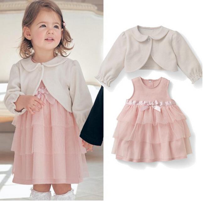 b47be7ffb3cb5 Hiver et automne nouveau bébé vêtements ensemble bébé fille manteau de  laine + robe bébé 1