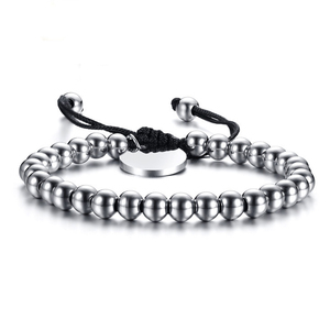 stainless steel bead bracelet rope wholesale with engraving charm
