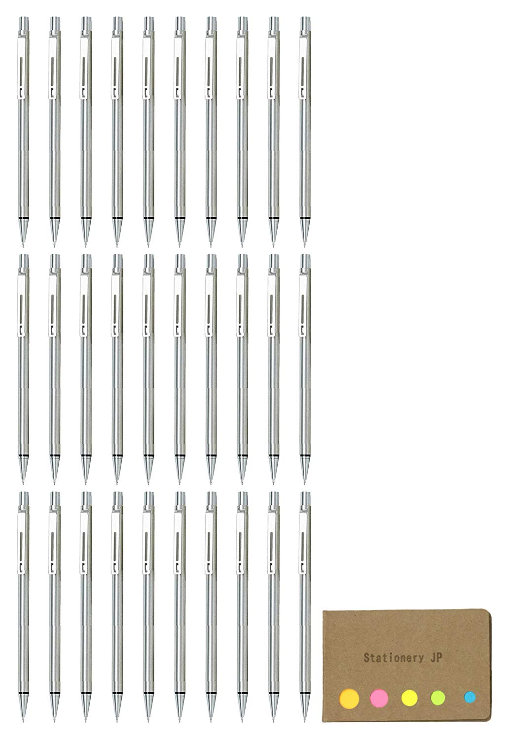 Pilot Birdy Stainless Steel Body Mini Mechanical Pencil 0.5 mm, 30-pack, Sticky Notes Value Set