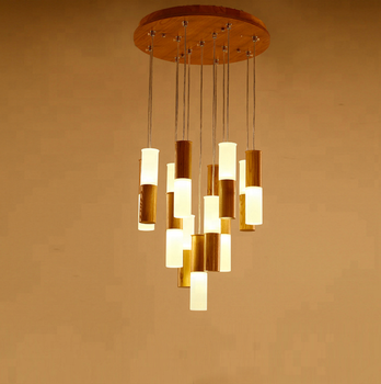 Hot Wooden Acrylic Modern Deco Commericail Led Hanging Lamp Indoor Chinese Chandelier Pendant Lighting Fixtures